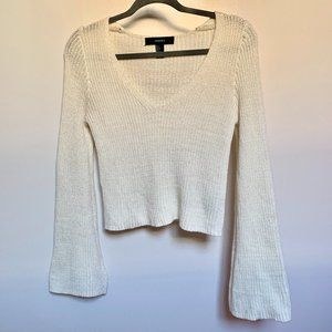 Sweaters - Cream Knit Sweater with Bell Sleeves